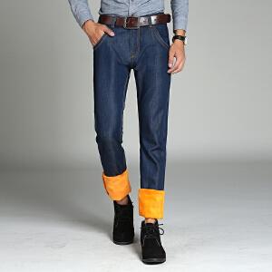 男士牛仔裤加绒加厚款冬季中低腰直筒宽松商务男装长裤子