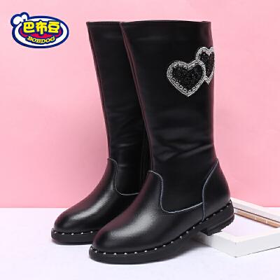 巴布豆童鞋 女童靴子2017新款女童鞋冬靴加绒保暖高筒靴马丁靴潮