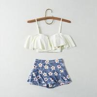泳衣女三件套韩国泡温泉小香风保守分体裙式荷叶边小胸聚拢游泳衣