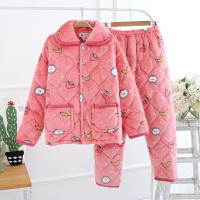睡衣女冬法兰绒三层加厚夹棉休闲保暖家居服珊瑚绒外穿两件套装