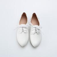 软皮小白鞋女2018新款百搭韩版平底单鞋女英伦白色小皮鞋女lkf 白色 【小尖头】