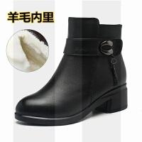 妈妈棉鞋女冬季加绒保暖羊毛平底棉靴中老年女士皮鞋大码中年短靴SN9473
