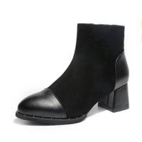 2018秋冬新款短筒马丁靴女靴高跟粗跟短靴尖头百搭加绒踝靴及裸靴软底 黑色