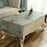 欧式茶几布长方形桌布绣花提花客厅家用布艺台布咖色斗柜电视柜布