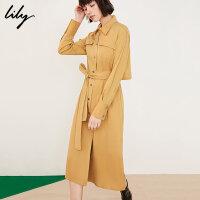 【25折到手价:249.75元】 Lily春新款女装气质绑带长款洋气衬衫长袖连衣裙119130C7225