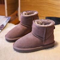 【活动价:126】儿童雪地棉靴真皮2019冬季新款冬鞋加绒女童短靴韩版男童加厚保暖
