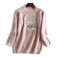 女装秋 新款时尚小清新小鹿刺绣圆领衬衫袖口毛衣女上衣