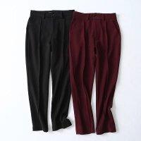 女装 春装新款韩版修身通勤气质高腰压线休闲小脚西装裤女裤