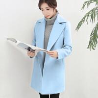 2018新款毛呢大衣女秋冬韩版呢子外套优雅显瘦中长款暗扣