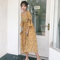裙子女装新款春装复古风韩版chic中袖碎花沙滩长裙学生连衣裙