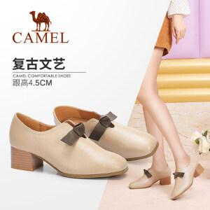 Camel/骆驼女鞋 2018秋季新品 时尚英伦蝴蝶结复古方头粗跟单鞋女
