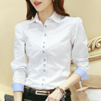 韩版2018春装新款白衬衫职业寸衫修身加绒长袖女士衬衣工