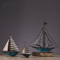 家居装饰品复古铁艺帆船摆件客厅酒柜电视柜饰品