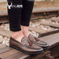 男鞋商务皮鞋男士休闲鞋夏季透气韩版百搭懒人一脚蹬豆豆鞋男