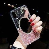 苹果x手机壳潮牌iphone7plus带镜子时尚8p同款6s水钻女款xs软包边全闪粉个性创意 亮片粉蝴蝶结 送钢化膜+