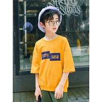 男童短袖t恤夏装儿童落肩袖体恤夏季中大童装上衣潮