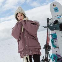 大毛领羽绒服女中长款2018冬季新款 韩版个性口袋时尚白鸭绒外套