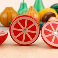 磁性实木仿真儿童过家家玩具厨房小女孩蔬菜切切看乐宝宝切水果 柠檬+半个西瓜+香蕉+ 菜刀+圆板