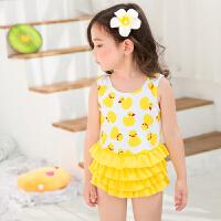 儿童泳衣女孩连体裙式可爱韩国小孩公主中大童游泳衣女童学生泳装 黄色
