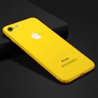 苹果XS黄色手机壳7plus磨砂6S超薄硬壳iPhone7玫瑰金8P挂绳