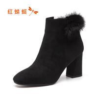 红蜻蜓冬季女靴欧美貂毛休闲马丁靴牛皮保暖棉靴粗跟短靴