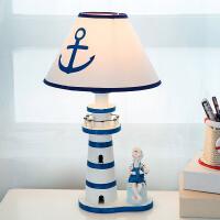 地中海风格木质灯塔台灯儿童房客厅卧室床头灯装饰创意可调光台灯