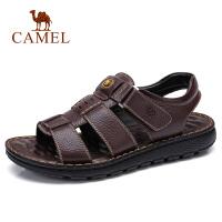 camel 骆驼男鞋夏季时尚牛皮商务日常休闲凉拖鞋柔软皮凉鞋男