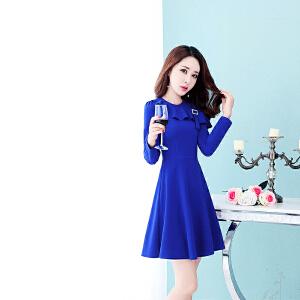 针织连衣裙女韩版2018新款修身中长款气质长袖时尚显瘦秋装连衣裙