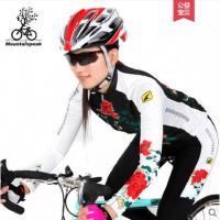 唯美印花紧身运动服单车骑行服长袖套装女骑行裤女自行车装备