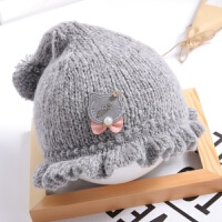 婴儿帽子秋冬季0-3-6-12个月女宝宝公主毛线帽婴幼儿针织帽潮 均码