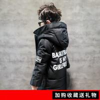 童装男童棉衣外套冬装2018新款儿童中长款宝宝韩版棉袄 FG171661背后印字母长款棉衣(厚)黑色