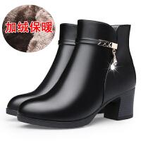 秋冬季中年女鞋真皮粗跟短靴中跟中老年女靴加绒保暖皮鞋妈妈棉鞋SN3535