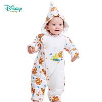 迪士尼Disney 宝宝哈衣男女纯棉带帽连体衣保暖爬服秋冬款194L865