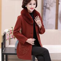 妈妈冬装新款毛呢外套中长款40-50岁中老年女装秋冬装厚羊绒大衣