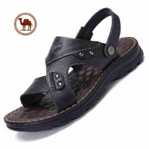 骆驼牌男鞋夏季新款休闲真皮厚底男士凉鞋露趾防滑沙滩凉拖鞋