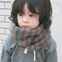 秋冬保暖儿童拼色条纹亲肤套头围巾 男女宝宝围脖圈套