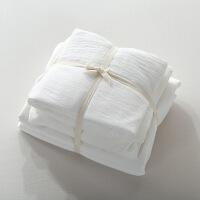 新品秒杀简约良品风水洗棉床上用品床笠四件套全棉日式床单格子纯白色被套