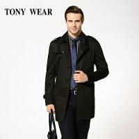 TONY WEAR/汤尼威尔秋季男士商务休闲基本款长袖翻领风衣