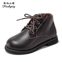 粉红小猪女童靴子2019秋季新款皮鞋儿童马丁靴牛皮短靴男童单靴潮
