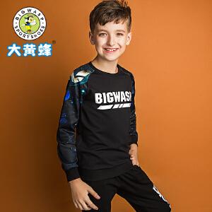 大黄蜂童装 男童T恤 长袖 2018秋季新款季儿童休闲韩版宽松上衣