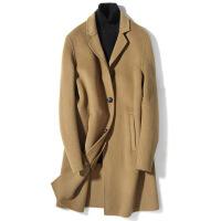 新款毛呢大衣男中长款英伦风羊毛呢子大衣双面呢外套零羊绒风衣男