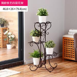 【满减】ORZ 棕色大号简约铁艺四层花架 创意欧式花盘架盆栽收纳架多层绿植搁架