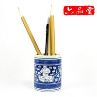 陶瓷笔筒青花瓷笔筒超大号毛笔筒文房四宝书房摆件