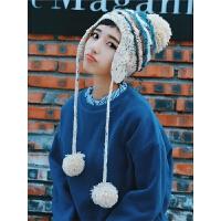 手工编织可爱花线护耳毛线帽子青年女冬天保暖雷锋帽