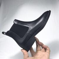 冬季网红瘦瘦马丁靴粗跟切尔西短靴女加绒高跟及踝靴平底裸靴