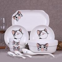 碗碟套装 情侣可爱卡通碗盘筷勺餐具陶瓷面条汤碗勺组合餐具创意家用厨房用品