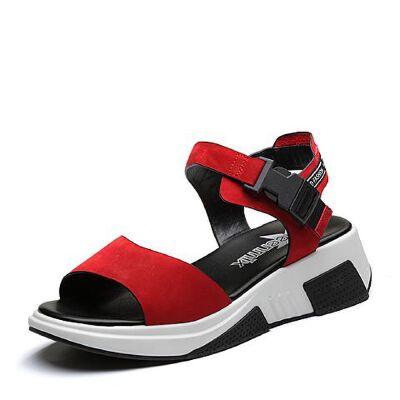 Teenmix/天美意2018夏专柜同款移膜二层牛皮革时尚字母厚底休闲风女凉鞋CDP01BL8