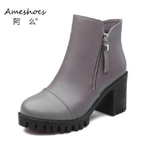 阿么16秋冬上新款圆头潮流时尚舒适平底粗跟侧拉链单靴