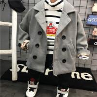 韩版冬季新款男童双排扣加棉加厚毛呢大衣外套儿童呢子B4-T36