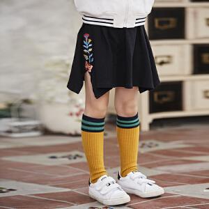【清仓季,1件3折】裂帛冬季新刺绣不规则下摆裙子针织半身裙女童56170199